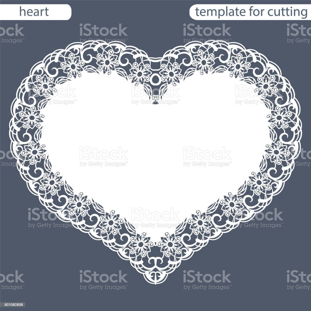 Greeting card with openwork border, paper doily under the cake, template for cutting in the form of heart, valentine card,  wedding invitation, decorative plate is laser cut,  vector illustrations. vector art illustration