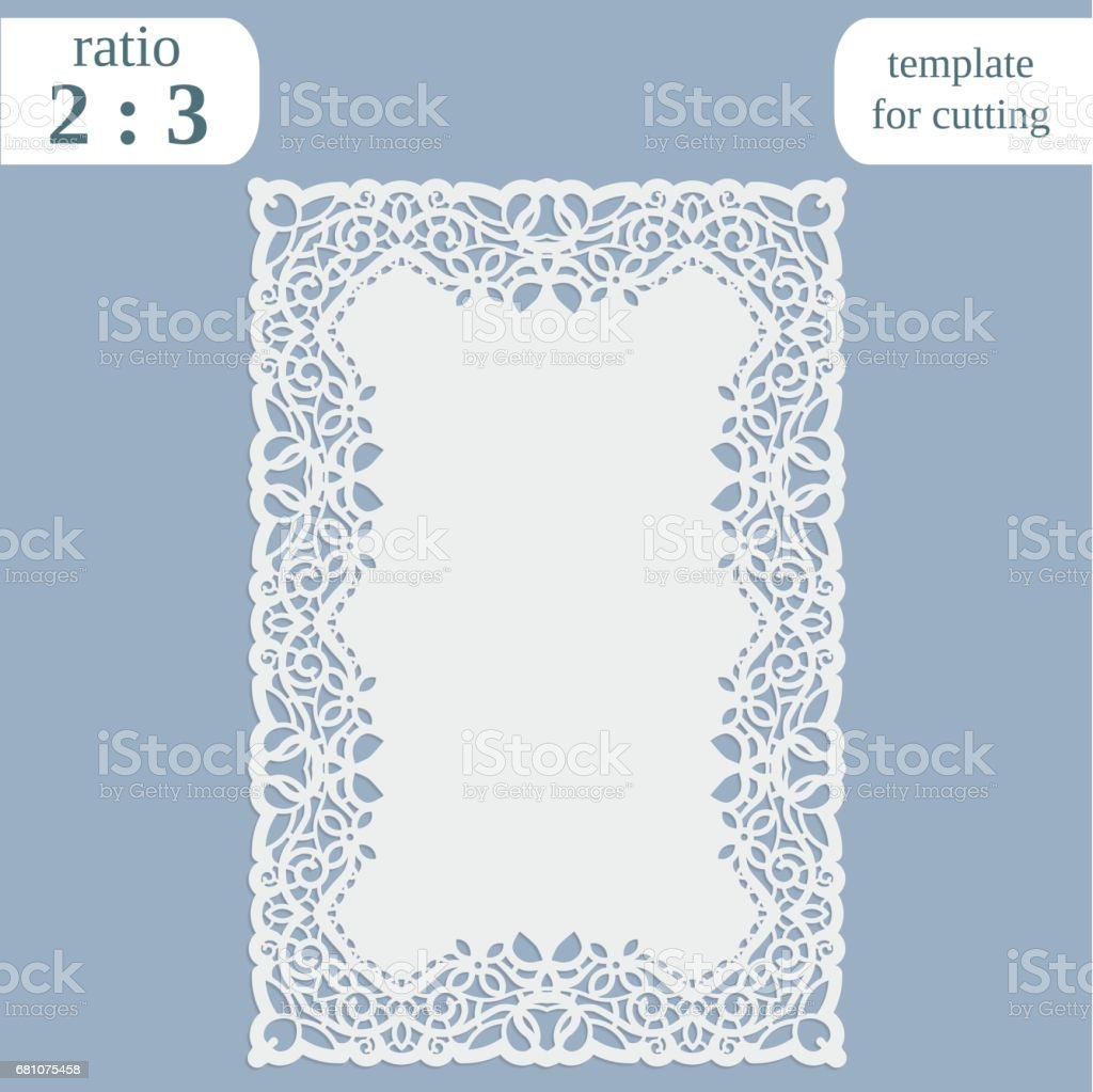 Greeting card with openwork border,  rectangular paper doily, template for cutting, wedding invitation, decorative plate is laser cut, frame with lace edge, vector illustrations. royalty-free greeting card with openwork border rectangular paper doily template for cutting wedding invitation decorative plate is laser cut frame with lace edge vector illustrations stock vector art & more images of abstract