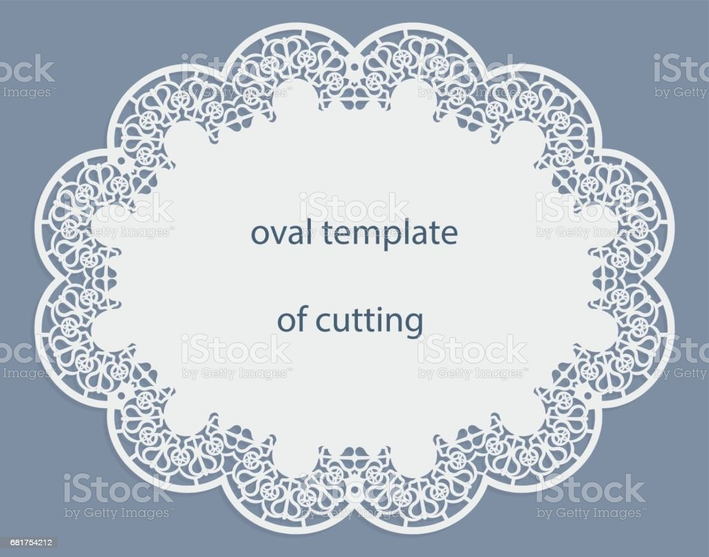 Greeting Card With Openwork Oval Border Paper Doily Under The Cake ...