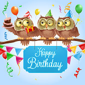 greeting card with owls illustration