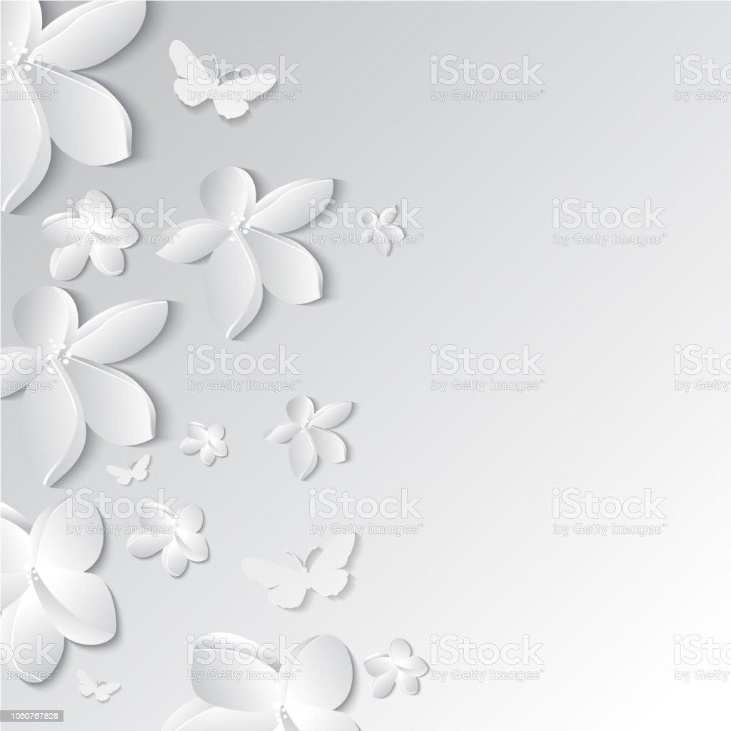 Kağıt çiçekler ile tebrik kartı vektör sanat illüstrasyonu