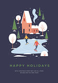 Winter activities and sports. Happy winter holidays. Festive seasonal vector illustration.