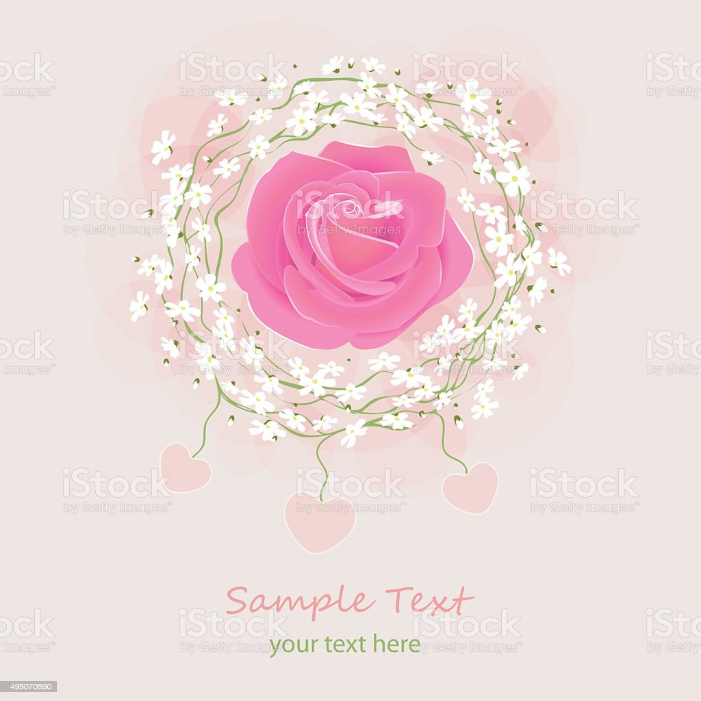 Greeting Card With Pink Rose And Little White Flowers Wreath Stock