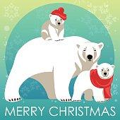 Greeting Card with Polar bear family
