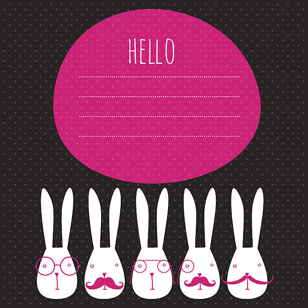 greeting card with rabbits vector art illustration