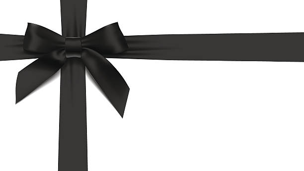 greeting card with realistic black bow on White background vector art illustration