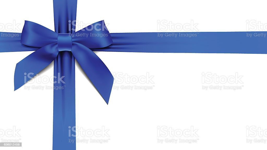 greeting card with realistic blue bow on white background vector art illustration