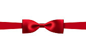 greeting card with realistic red bow on a white background, vector illustration
