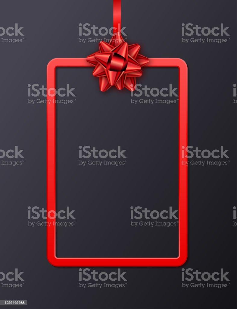 Carte De Voeux Avec Cadre Rouge Ruban Et Archet Sur Fond Noir Modle Pour
