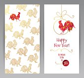 Greeting card with Red Rooster symbol of 2017.