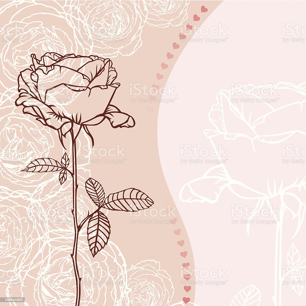 Greeting card with rose royalty-free stock vector art