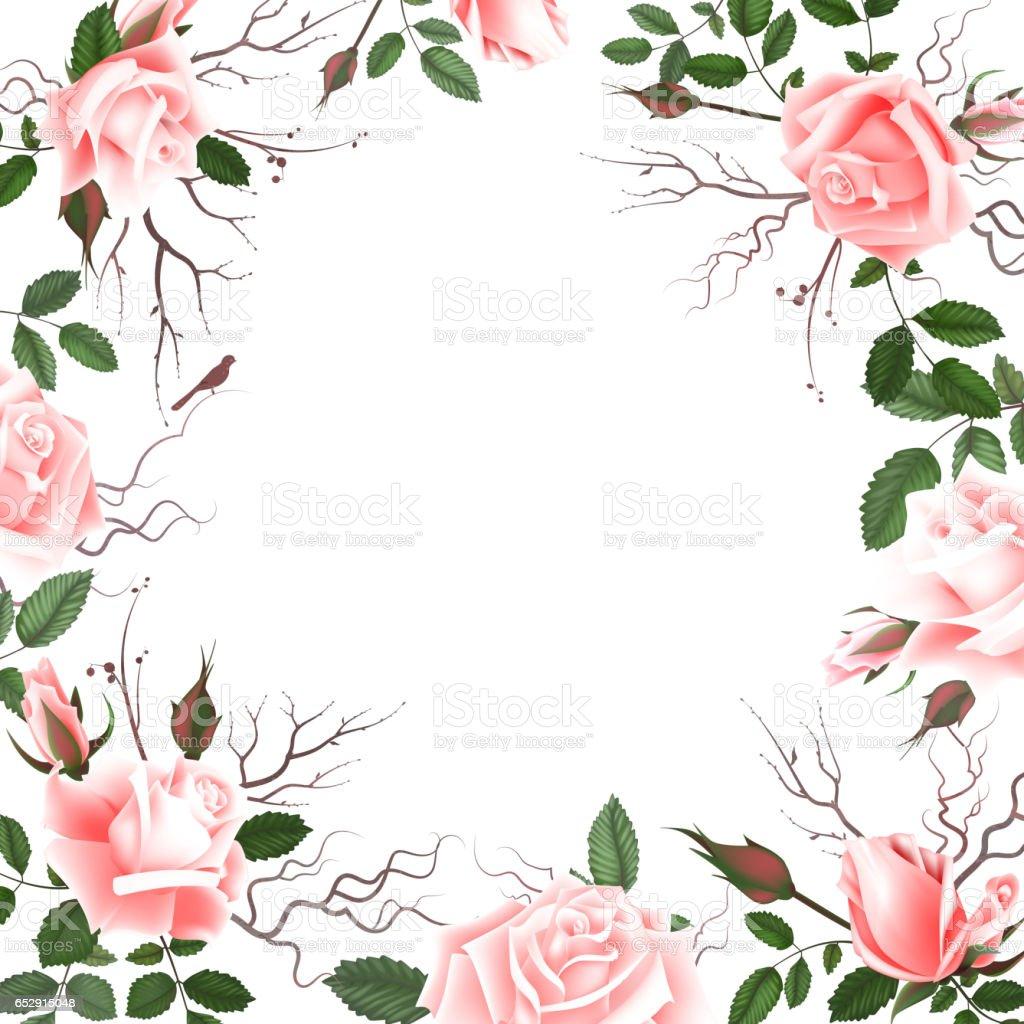 Ilustración De Tarjeta De Felicitación Con Rosas Acuarelas