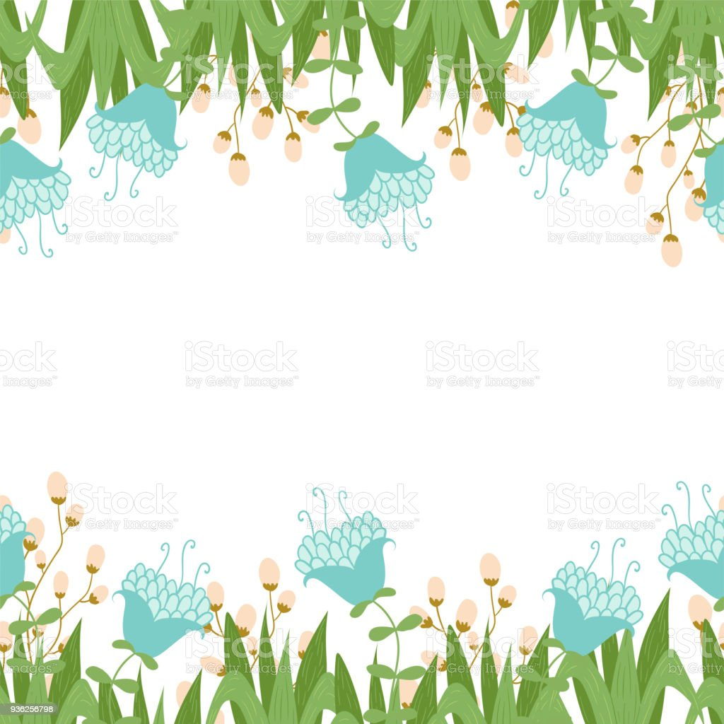 greeting card with seamless floral border perfect for spring holiday invitation royalty free