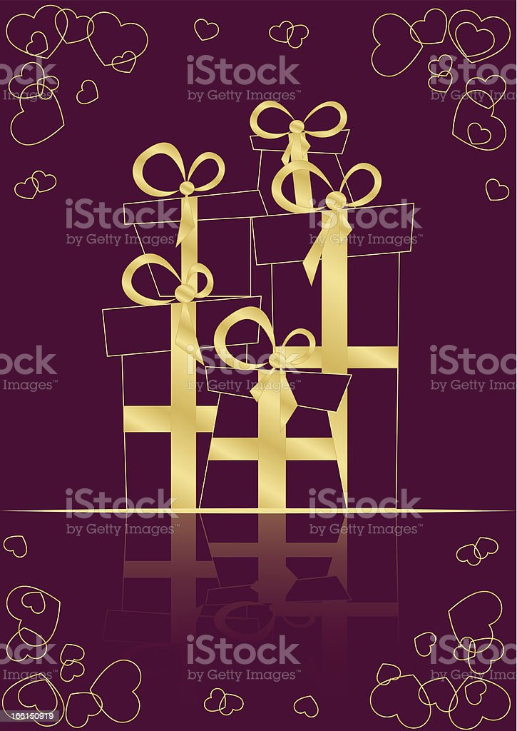 greeting card with silhouettes of gifts royalty-free stock vector art