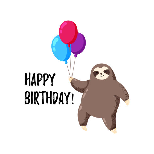 Greeting card with sloth holding balloons. Template for printing, web design, postcard Greeting card with sloth holding balloons. Template for printing, web design, postcard baby sloth stock illustrations