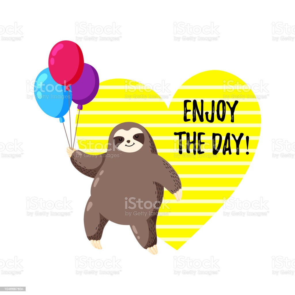 greeting card with sloth holding balloons template for printing web
