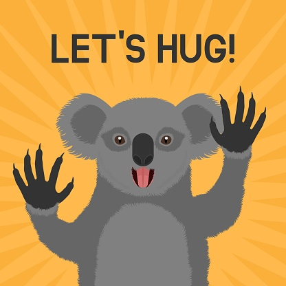 Greeting card with smiling Koala with text Let's hug!
