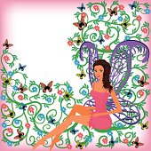 Greeting card with space for text - beautiful fairy