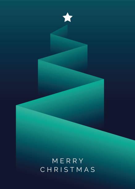 bildbanksillustrationer, clip art samt tecknat material och ikoner med gratulationskort med stiliserad julgran. - abstract silhouette art