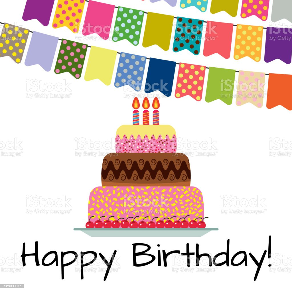Greeting Card With Sweet Cake For Birthday Celebration Stock Vector