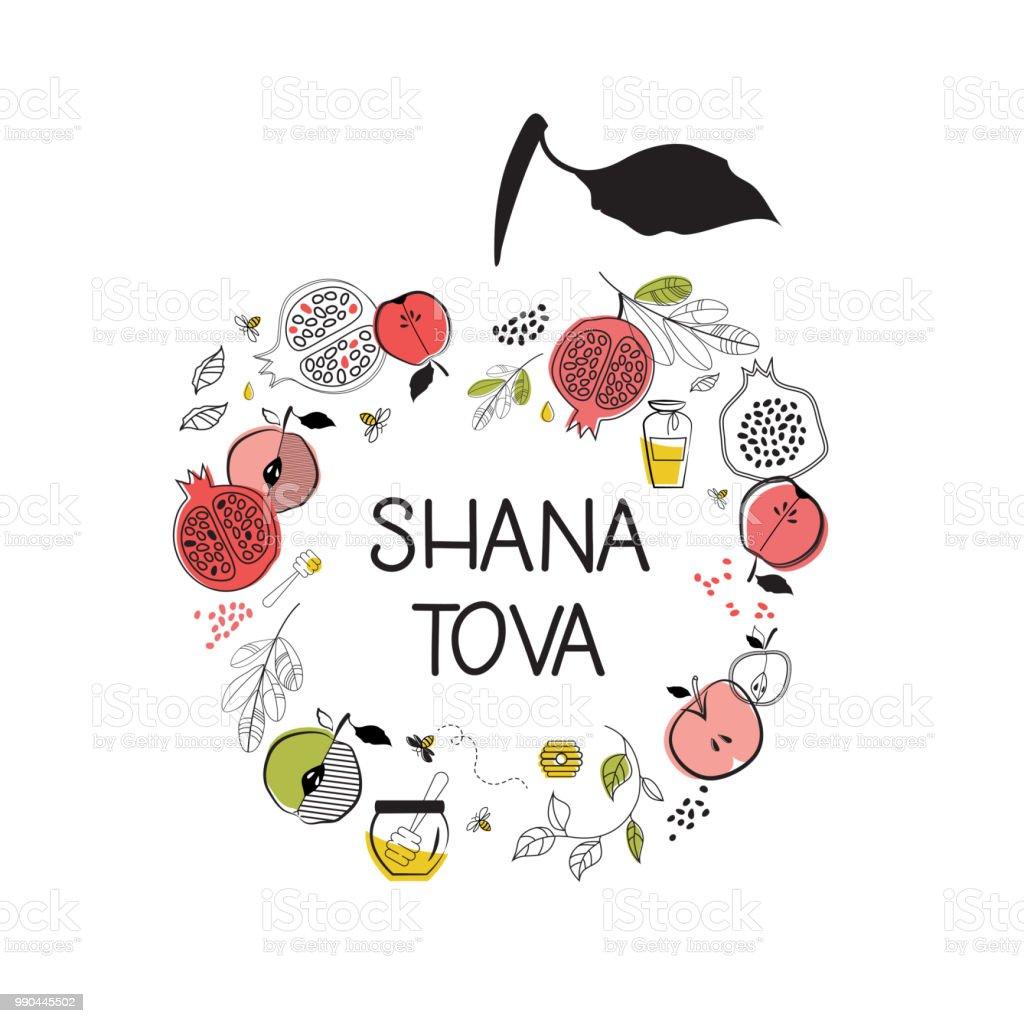 Greeting Card With Symbols Of Jewish Holiday Rosh Hashana New Year ...