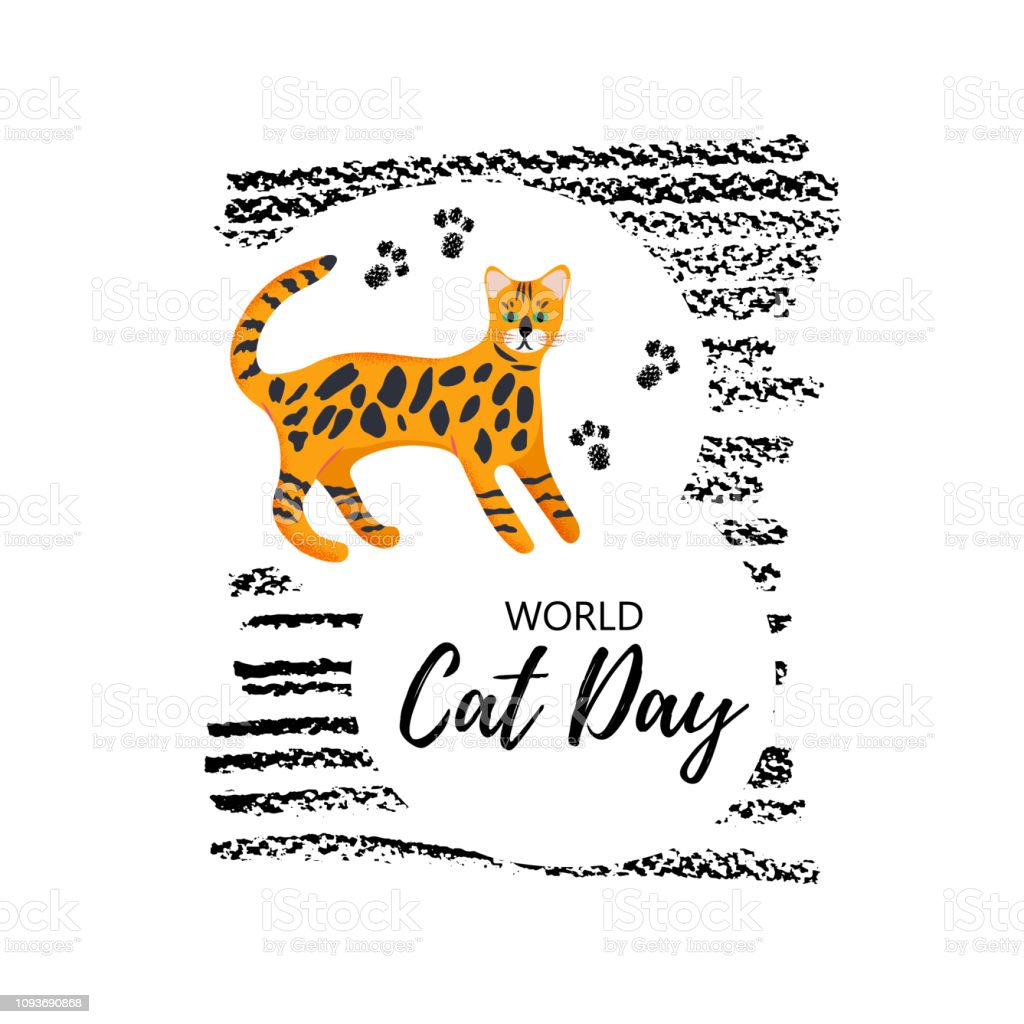 Vector illustration. Greeting card with text \' World Cat Day\'. Cute...