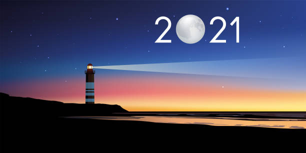 2021 greeting card with the concept of the lighthouse serving as a landmark in illuminating the twilight vector art illustration
