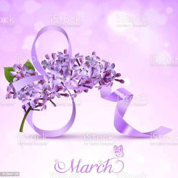 Greeting card with the eighth of March with flowers of lilac and satin ribbon in the form of an eight