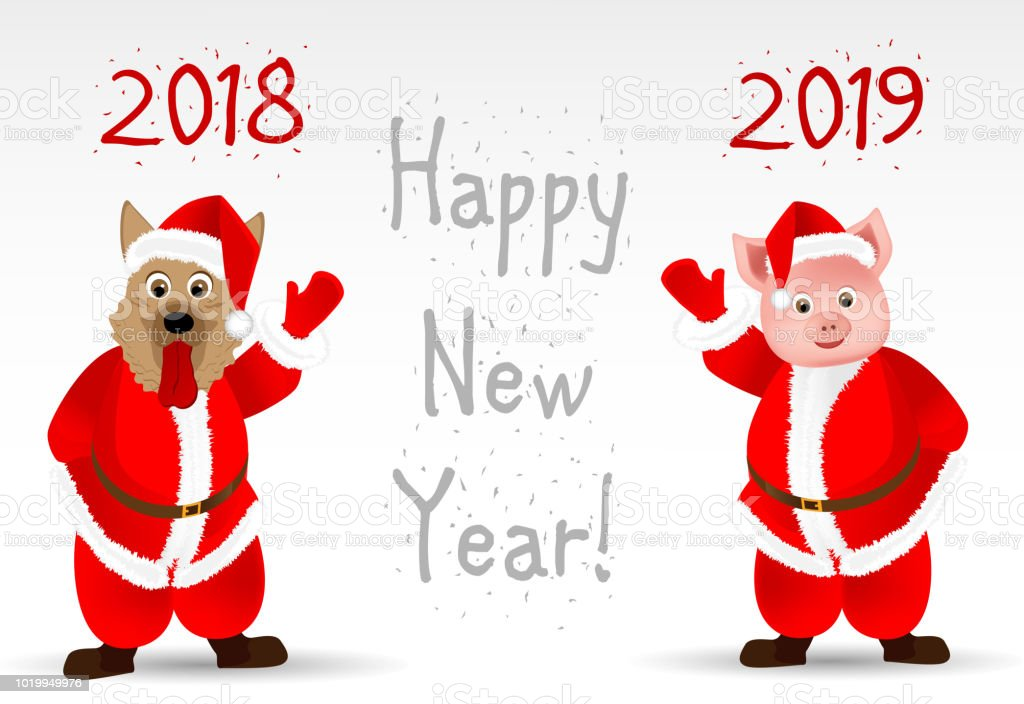 Greeting card with the New Year 2019, the year of the pig vector art illustration