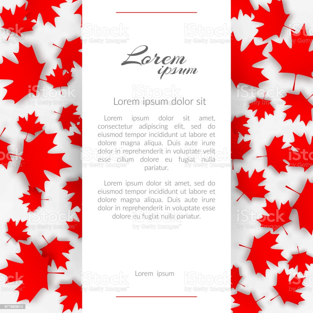Greeting Card With The Theme Canada Flag Background With Red Maple