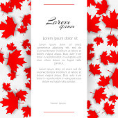 Greeting card with the theme Canada flag Background with red maple canadian leaves on a light background on Canada Day autumn sales design background of autumn cards Vector maple Canadian leaf