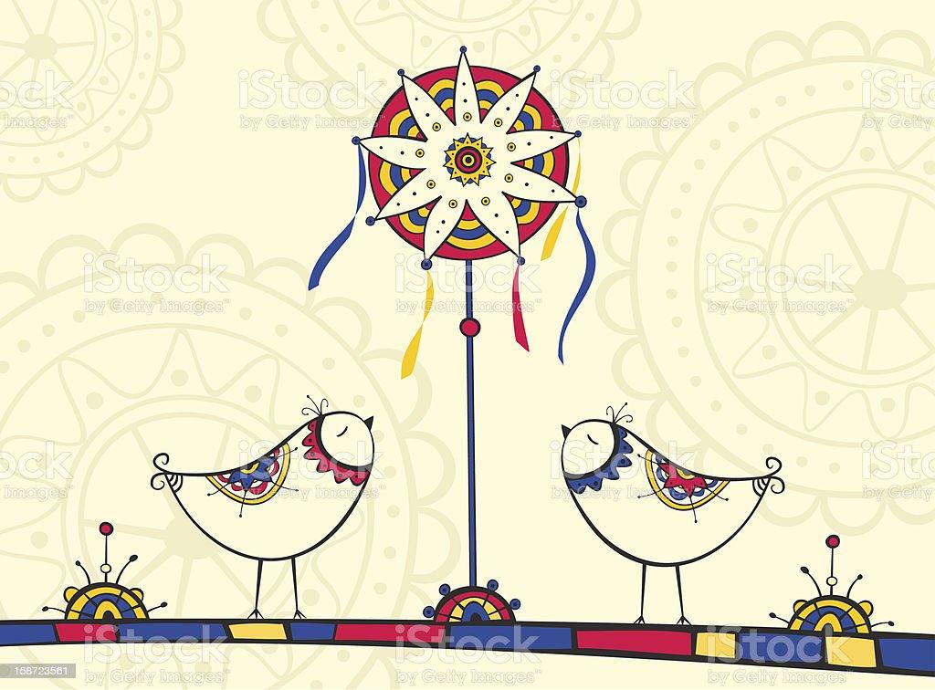 Greeting card with Traditional Ukrainian Christmas symbols vector art illustration