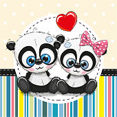 Greeting card with Two cute Cartoon Pandas