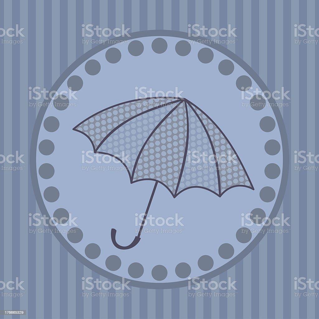 Tarjeta de felicitación con sombrilla en un círculo ilustración de tarjeta de felicitación con sombrilla en un círculo y más banco de imágenes de abstracto libre de derechos