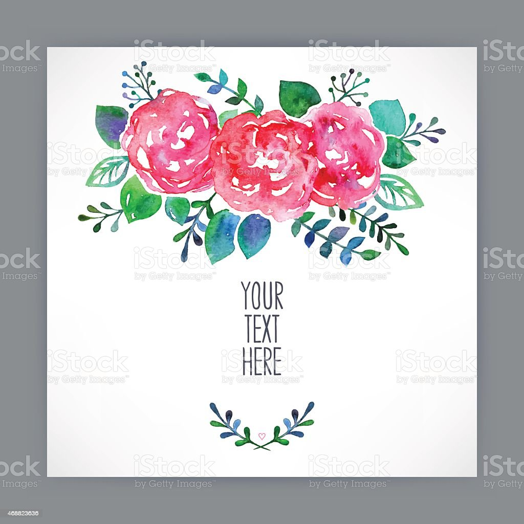 Greeting card with watercolor flowers 3 stock vector art more greeting card with watercolor flowers 3 royalty free greeting card with watercolor flowers 3 kristyandbryce Image collections