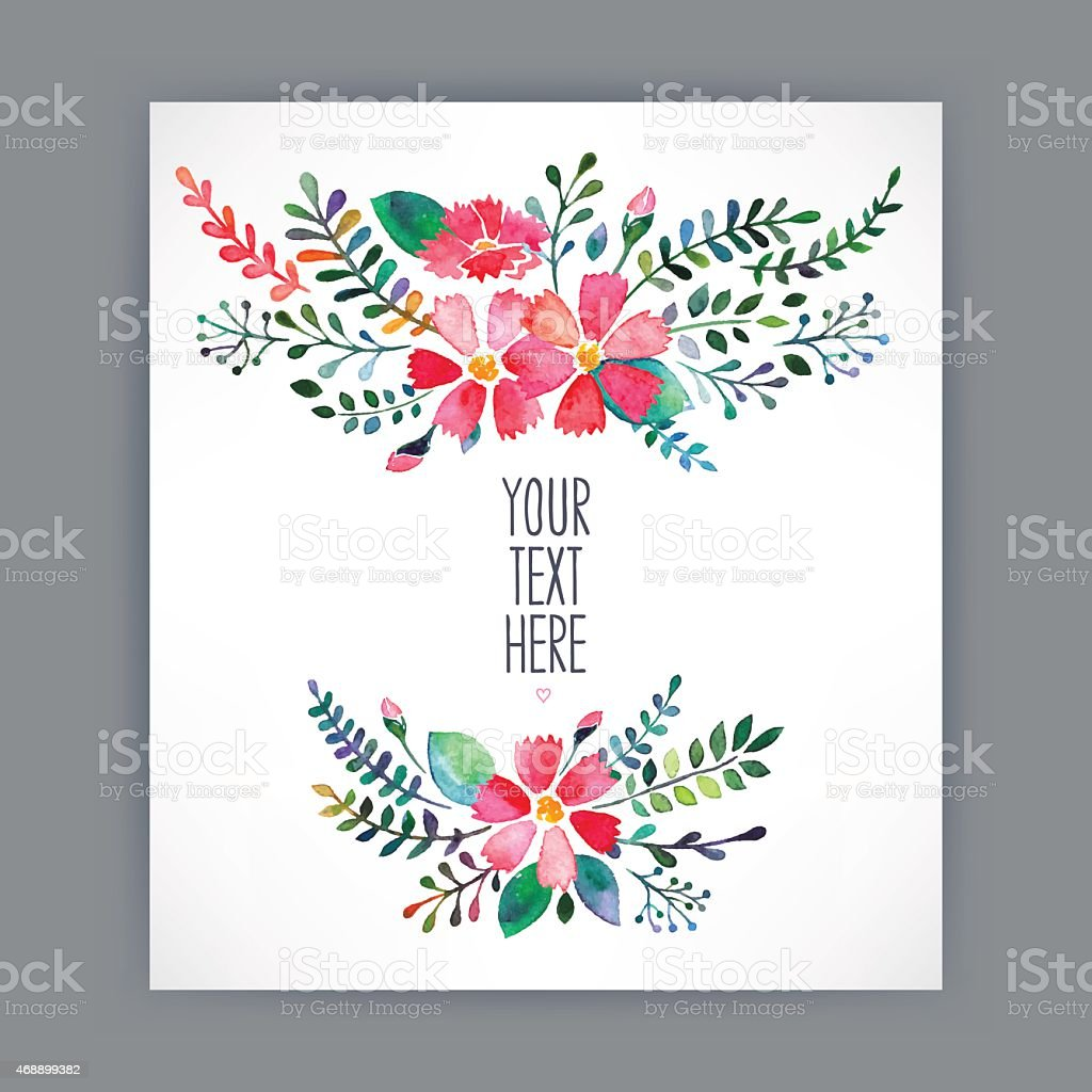 Greeting card with watercolor flowers 4 stock vector art more greeting card with watercolor flowers 4 royalty free greeting card with watercolor flowers 4 kristyandbryce Image collections