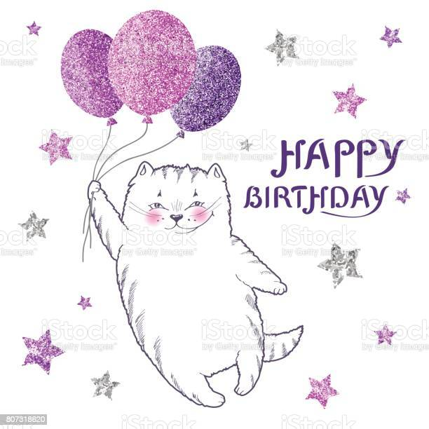 Greeting card with white cat with glittering purple balloons vector id807318620?b=1&k=6&m=807318620&s=612x612&h=kbtpxpsazcoofbqpufm 9l  mo3o7zj11gmdsgwn bw=
