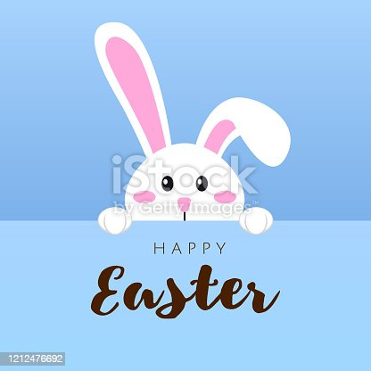 istock Greeting card with white Easter rabbit. Funny bunny in flat style. Easter Bunny. Happy easter lettering card with cute rabbit children vector illustration. 1212476692