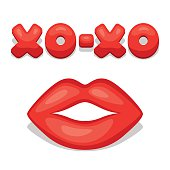Greeting card with xo-xo and lips. Concept can be