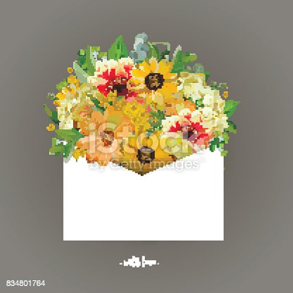 istock Greeting card with yellow sunflower, dahlia, cosmos flower eucalyptus packed white letter envelope. Vector sweet floral illustration Invitation summer background for wedding gray with love inscription 834801764