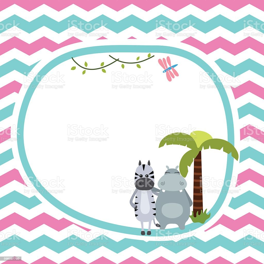 Greeting card with zebra and hippo. Lizenzfreies greeting card with zebra and hippo stock vektor art und mehr bilder von afrika