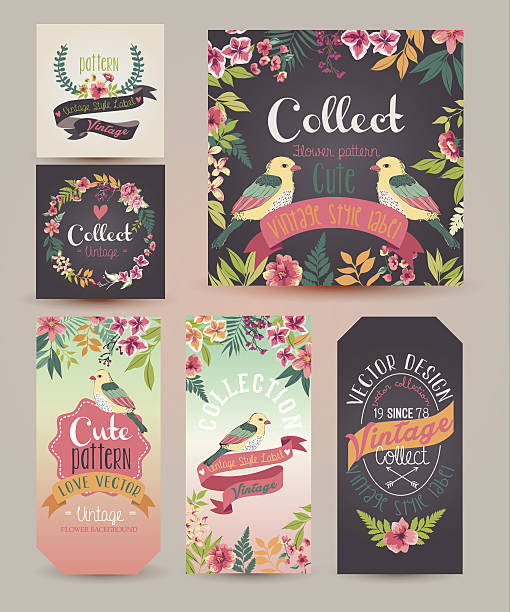 greeting card,romantic labels with flower greeting card,romantic labels with flower bird borders stock illustrations