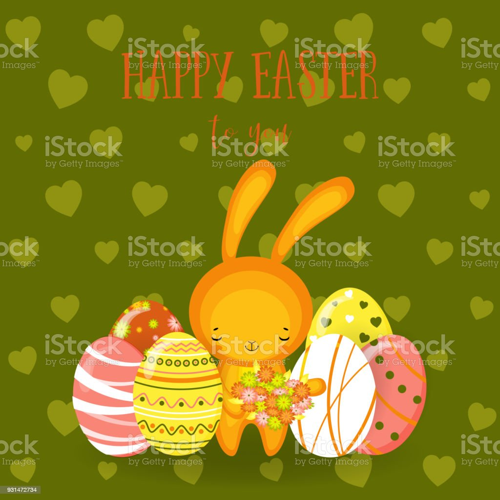 Greeting Cards Cute Easter Bunny Eggs Flowers Stock Vector Art