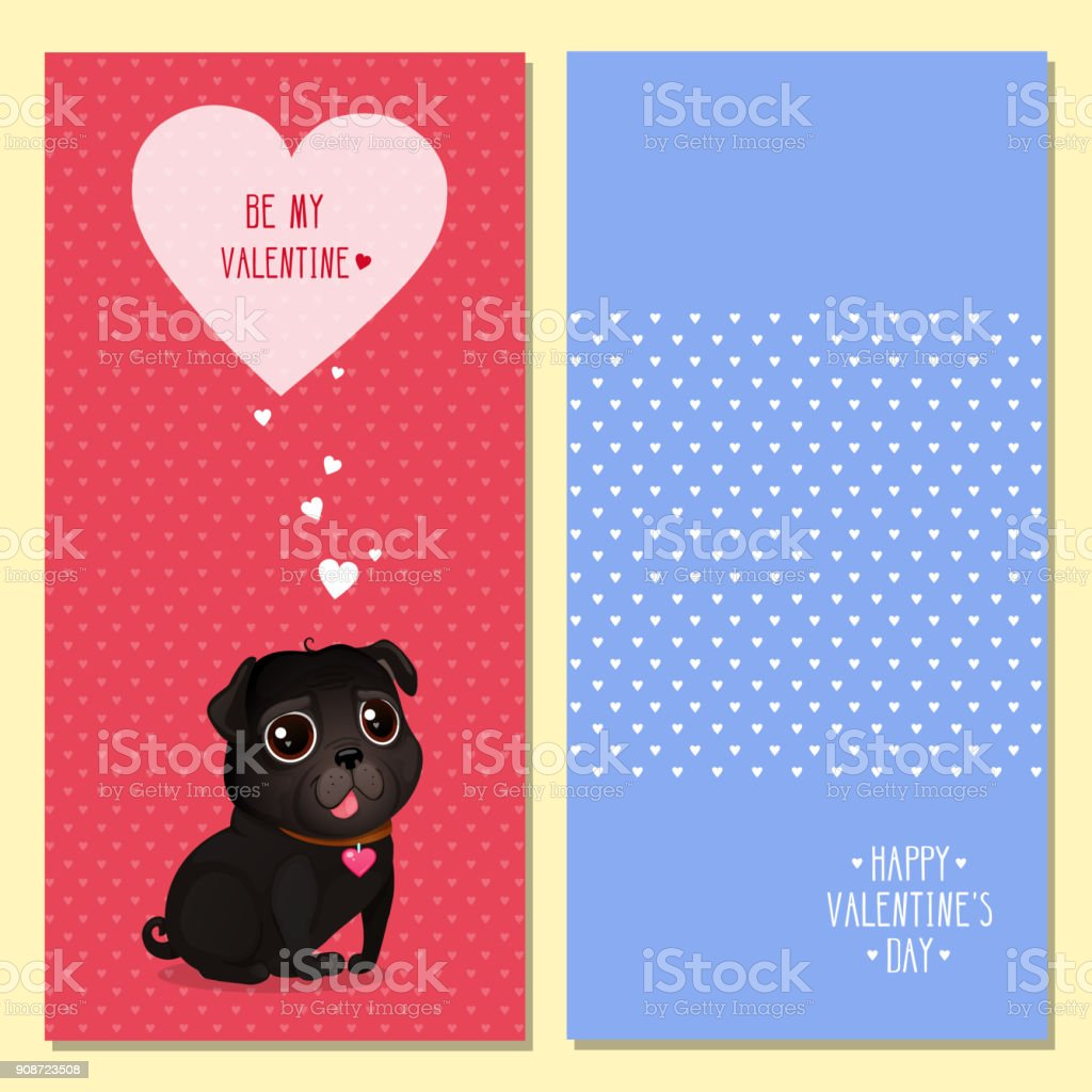 Greeting Cards For Valentines Day With A Cute Black Pug And Hearts