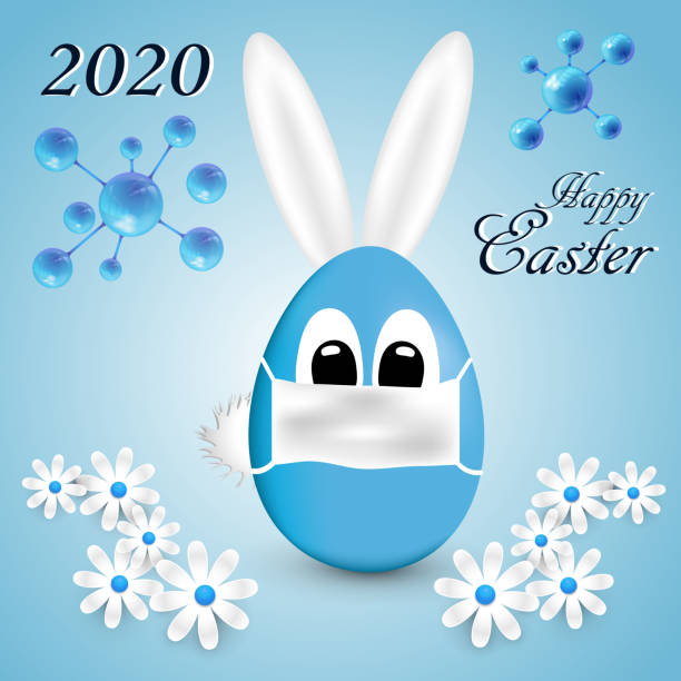 stockillustraties, clipart, cartoons en iconen met wenskaarten happy easter 2020 - tears corona