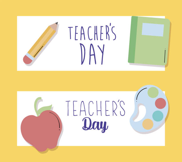 greeting cards happy teacher day greeting cards happy teacher day vector illustration design thank you teacher stock illustrations