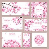Greeting cards with blossoming sakura