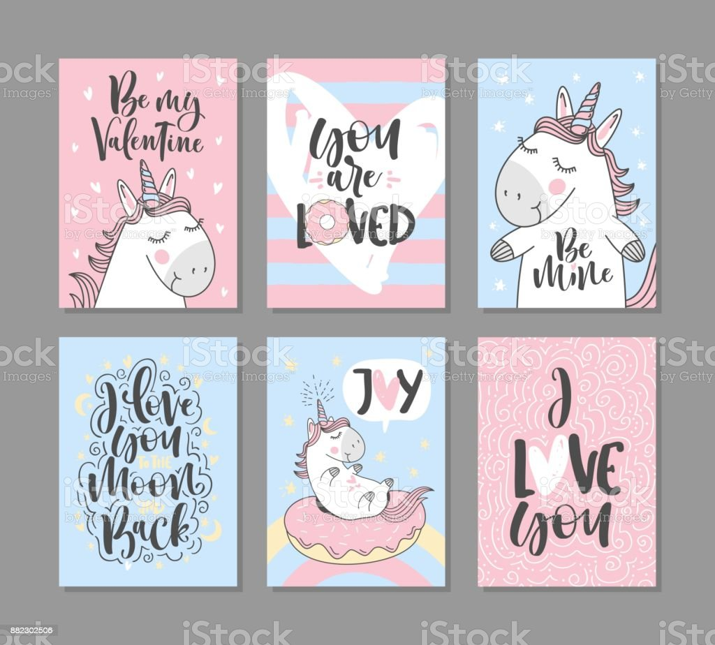 Greeting cards with cute unicorns for valentines day i love you to greeting cards with cute unicorns for valentines day i love you to the moon m4hsunfo