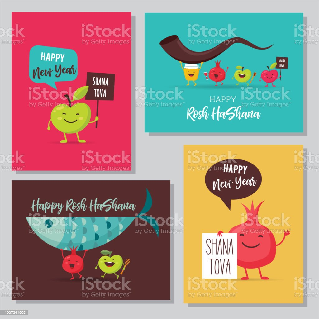Greeting Cards With Funny Cartoon Characters For Rosh Hashanah Jewish Holiday Honey Jar Apples And Pomegranates Vector Illustration Design