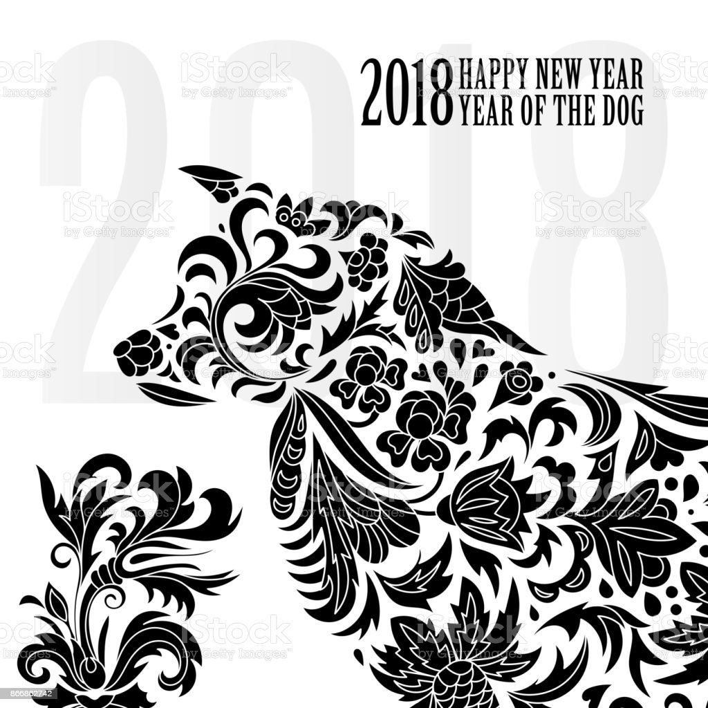 greeting chinese new year card with stylized dog one color print vector